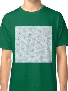 Vintage black pink teal polka dots flowers Classic T-Shirt