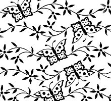 Vintage black white cute butterfly floral pattern. by Maria Fernandes