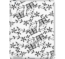 Vintage black white cute butterfly floral pattern. iPad Case/Skin