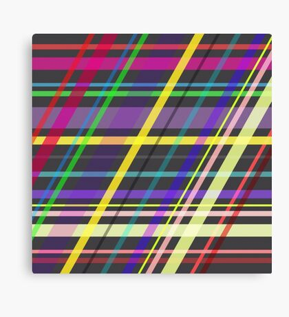 Purple Yellow Green Blue Summer Fun Trippy Crossing Lines Canvas Print