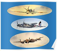 Spitfire Mosquito Lancaster Collage Poster