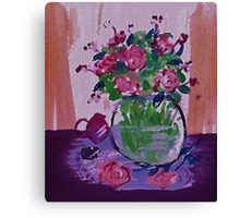 Glass vase of flowers by window Canvas Print