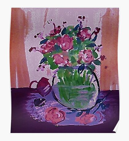 Glass vase of flowers by window Poster