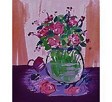 Glass vase of flowers by window Photographic Print