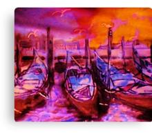 The Venice  Gondolas, watercolor Canvas Print