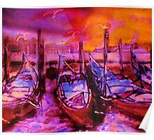 The Venice  Gondolas, watercolor Poster
