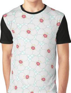 Elegant white pink petunia flowers polka dots  Graphic T-Shirt