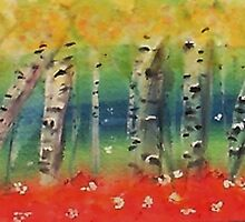 Aspen trees in abstract, watercolor by Anna  Lewis