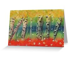 Aspen trees in abstract, watercolor Greeting Card