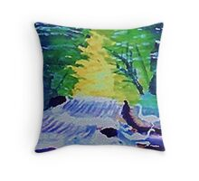Waterfall and Fowl, watercolor Throw Pillow