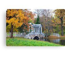 Marble Bridge in the park Tsarskoye Selo, Russia  Canvas Print