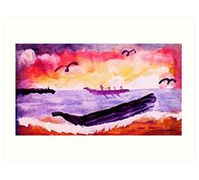 Coming ashore, #2, watercolor Art Print