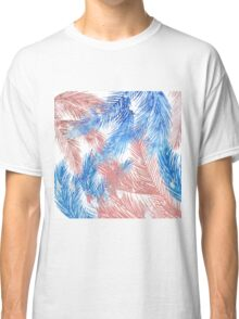 Trendy tropical blue coral watercolor palm leaves  Classic T-Shirt