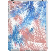 Trendy tropical blue coral watercolor palm leaves  iPad Case/Skin