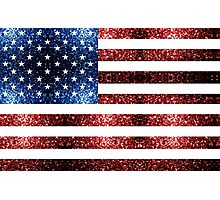 USA flag red & blue sparkles Photographic Print