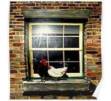 A rooster & hen on a window Ledge Poster