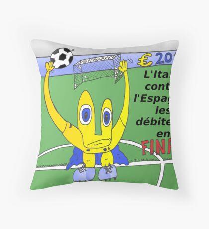 caricature du grand finale de l'euro 2012 entre italie et l'espagne Throw Pillow