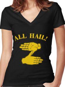 All Hail Zoltan Gold Women's Fitted V-Neck T-Shirt