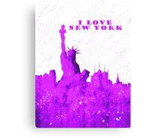 I LOVE NEW YORK - Color Purple Canvas Print