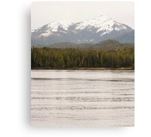 Mountain and Fir Forest from Water Canvas Print
