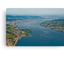 Lake Zurich from a plane. Canvas Print