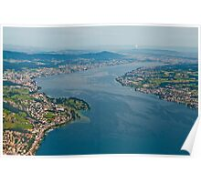 Lake Zurich from a plane. Poster