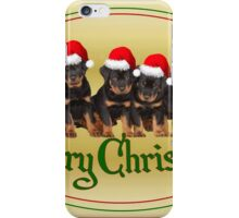 Cute Merry Christmas Rottweiler Puppies iPhone Case/Skin