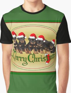 Cute Merry Christmas Rottweiler Puppies Graphic T-Shirt