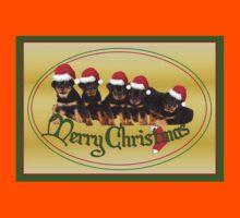 Cute Merry Christmas Rottweiler Puppies Kids Tee