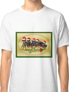 Cute Merry Christmas Rottweiler Puppies Classic T-Shirt