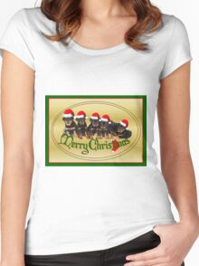 Cute Merry Christmas Rottweiler Puppies Women's Fitted Scoop T-Shirt