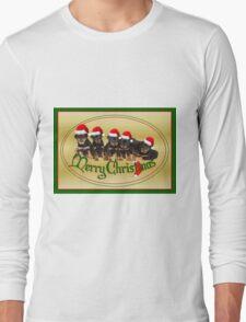 Cute Merry Christmas Rottweiler Puppies Long Sleeve T-Shirt