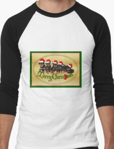 Cute Merry Christmas Rottweiler Puppies Men's Baseball ¾ T-Shirt