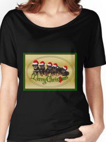 Cute Merry Christmas Rottweiler Puppies Women's Relaxed Fit T-Shirt