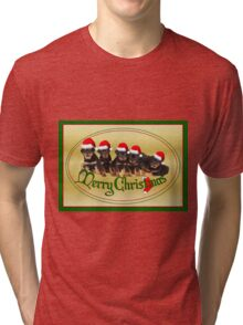 Cute Merry Christmas Rottweiler Puppies Tri-blend T-Shirt