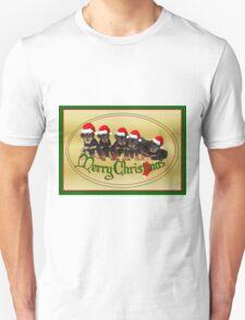 Cute Merry Christmas Rottweiler Puppies Unisex T-Shirt