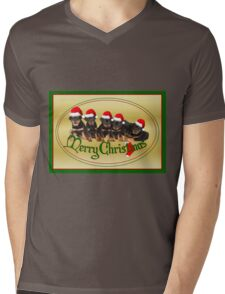 Cute Merry Christmas Rottweiler Puppies Mens V-Neck T-Shirt