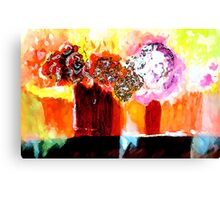 Still life with Flowers in two vases Canvas Print