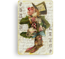 Mad Hatter Joker Card Metal Print