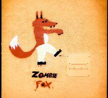 Zombie Fox Stencil Graffiti. by eyeshoot