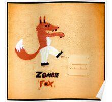 Zombie Fox Stencil Graffiti. Poster