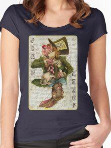 Mad Hatter Joker Card Women's Fitted Scoop T-Shirt