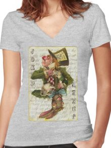 Mad Hatter Joker Card Women's Fitted V-Neck T-Shirt