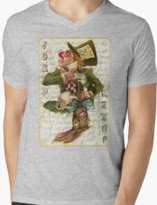 Mad Hatter Joker Card Mens V-Neck T-Shirt