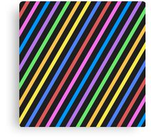 Purple Yellow Blue Black trippy stripes Canvas Print