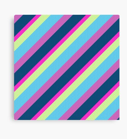 Summer fun Blue pink lime Colorful lines Canvas Print