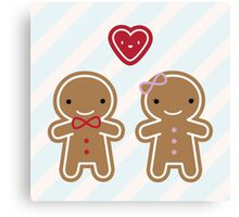 Cookie Cute Gingerbread Couple Canvas Print