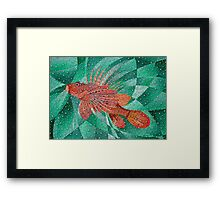 Lion Fish (Pterois) In Bubble Sea Framed Print