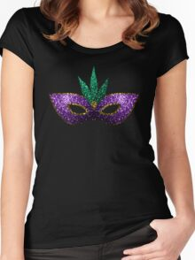 Mardi Gras Mask Purple Green Gold Sparkles Women's Fitted Scoop T-Shirt