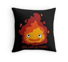 She likes my spark! Throw Pillow